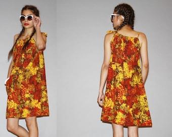 1960s Graphic Autumn Leaf Fall Floral 60s Tent Mod  Dress   - Short 60s Dress - Vintage Designer Saks Fifth Avenue Dress - WD0920