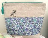 Liberty of London 'Party Bird' project bag with silk tassel ..... Blue Flowers