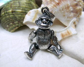 Sterling Silver 3D Movable Gorilla Pendant Charm 7.88g