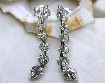 14k Diamond Earrings 1 Carat 1.85g White Gold