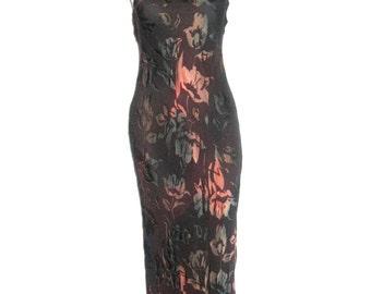 Vintage Mannequines Brown Multi-Color Floral Burnout Strappy Bias Cut Long Silk Dress Size