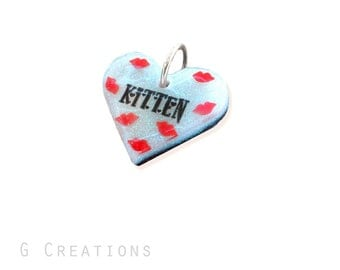 Heart Tag Pendant - Personalized Pet Slave Jewelry - Owned - White and Black Glitter - Waterproof Pet ID tag - Pet Collar Accessory - BDSM