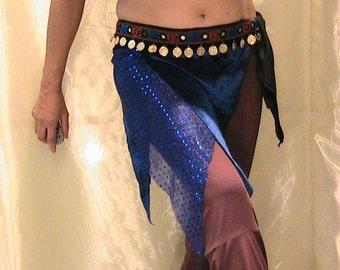 Belly dance hip scarf, hip skirt, hip belt in blue velvet with gold coins and sheesha trim SM-MED