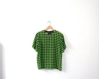 Vintage 90's green and black checkered silk blouse, size medium