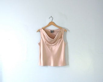 Vintage 90's blush pink silk blouse, sleeveless, size 6 small