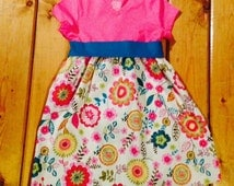 T-Shirt Dress toddler party dress spring floral teal green orange yellow pink spring summer boutique style dress with sash