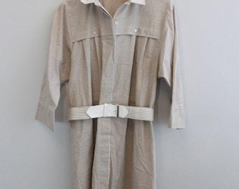 Vintage 80s Belted Shirt Dress Khaki dress by EJM