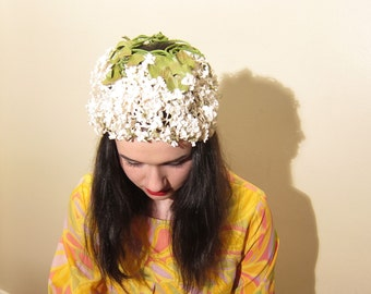 Vintage 1960s White Flower Hat with Open Crown / 60s Silk Floral Festooned Cap Fascinator