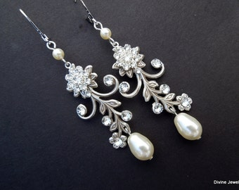 Bridal Earrings, pearl rhinestone earrings, Rhinestone Wedding Earrings, Chandeliers bridal Earrings, swarovski crystal earrings, GERBERA