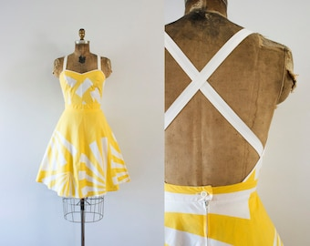 1970s Hello Sunshine abstract cotton dress / 70s fit n' flare
