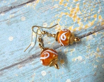 Golden Brown and White Lampwork Earrings (2359)