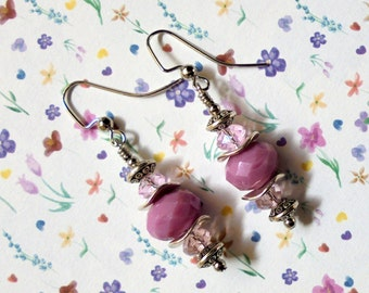 Pink and SIlver Earrings (2490)
