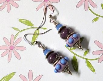 Lavender, Pink and Cornflower Blue Lampwork Beads Earrings (2545)