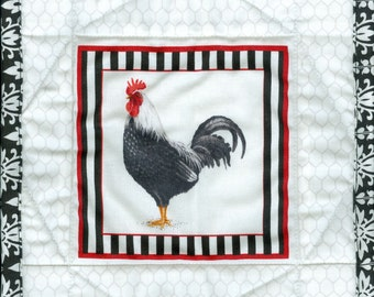 Black Tie Rooster Pot Holder, handmade quilted chicken potholder kitchen a