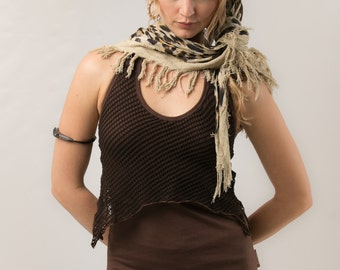 Double Layer Open Back Top - burning man top - women clothing - Tops & Tees