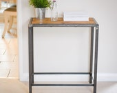 Reclaimed Wood and Steel Industrial Side Table