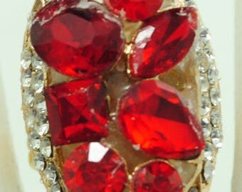 Oval Rhinestone Ring/Red/Gift For Her/Holiday Ring/Adjustable/Under 15 USD