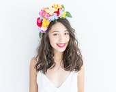 multicolour yellow orange red blue purple statement flower crown headband // summer festival garden party new year's eve bright colourful