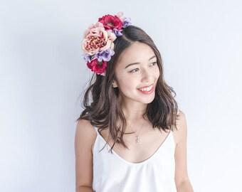 purple pink burgundy statement flower crown // summer floral headpiece, nature garden party headband, lana del rey, fascinator