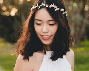 dusty pink & gold flower hair wreath // bridal wedding flower crown headband rustic forest garden spring woodland headpiece
