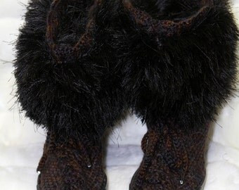 Brown crochet boots, crochet boots, crochet shoes, outdoor boots, brown hand made boots, women fashion, winter boots, furry top boots