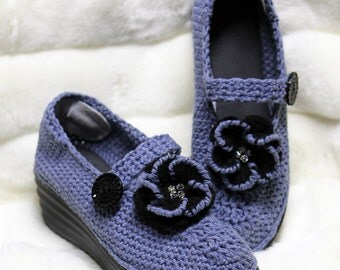 Crochet shoes - Outdoor shoes - Slipper Shoes - Shoes with Soles - Mary Jane Shoes - Bling Shoes - Wedge Shoes - Blue Shoes - Platform Shoes