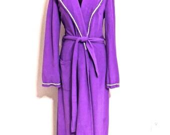 vintage purple robe - 1950s-60s purple/silver lounge coat robe