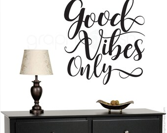 "Wall decals ""GOOD VIBES ONLY"" Quote - Vinyl lettering interior modern decor - Wall stickers by Graphics Mesh"