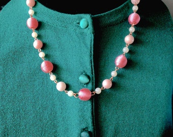 Peach Jade, Quartz, and Copper Necklace & Earring Set - Mid Century  Modern - Vintage Inspired