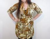 Vintage Kimono Robe // Novelty Print Safari Kimono // 1970s Loungewear Pajamas Bathrobe // One Size Fits Most