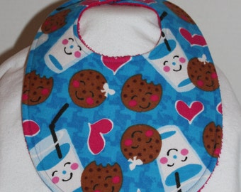Milk and Cookies Flannel / Terry Cloth Bib