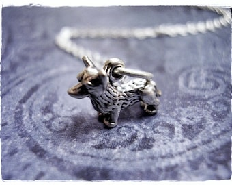 Tiny Silver Corgi Necklace - Sterling Silver Corgi Charm on a Delicate Sterling Silver Cable Chain or Charm Only