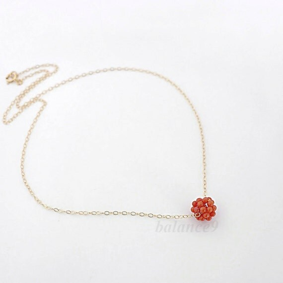 Red coral necklace, dainty small beaded coral ball on 14k gold filled chain