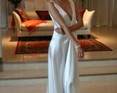 Bridal Nightgown Satin Off White Wedding Lingerie Venise Lace Sleepwear Art Deco Paris Chic Boudoir Elegance Backless Gown Sarafina Prima