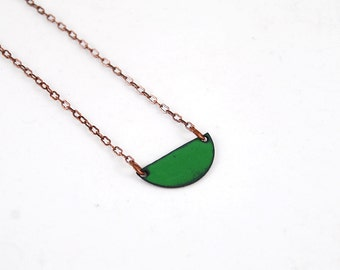 Little Green Enamel Half Circle Moon Pendant Necklace