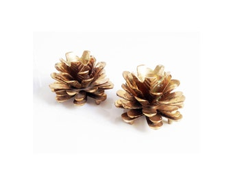 Vintage Brass Pine Cone Candle Holders