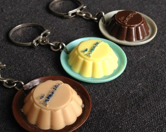 Vintage Imperial Flan keychain trio. Keyring collector fun finds.