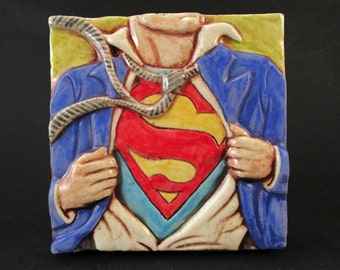 SUPERMAN Ceramic Art Tile - Multi, 4 x 4 Handmade Ceramic Tile, Wall Art, Comic Book Art, Clark Kent