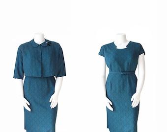 1950s Dress Suit • 50s Dress With Jacket • XXL
