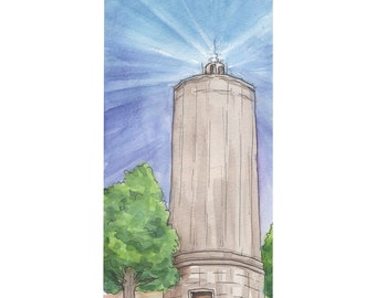 Mt. Washington Water Tower Watercolor Print, Cincinnati, Ohio
