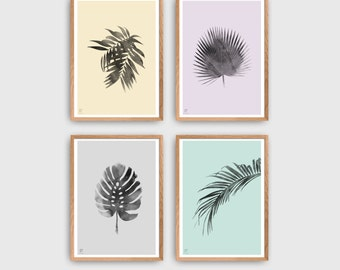 Botanical Print Set | Minimalist Posters | Tropic Wall Decor | Watercolor Plant Prints | Scandinavian Style Home Decor | Gallery Wall Art