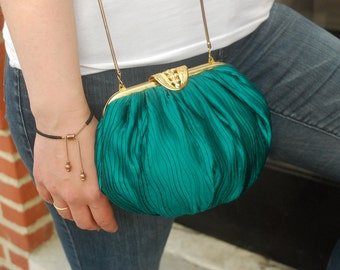 Art Deco Purse Emerald Green Bag Great Gatsby Gold Detail Vintage Carla Marchi Crossbody