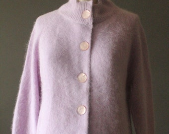 Vintage 50's Lavender Angora and Lambswool Button Up Cardigan Sweater by Darlene, size 34