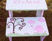 Step Stool Benches Pink Elephant Bathroom Stool Baby Bedding Elephants Kids and Baby Furniture and Decor