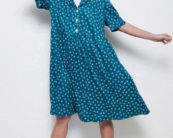 plus size day dress vintage 70s green white geometric print 1X plus size