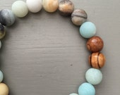 Amazonite and Olive Wood Mala Bracelet, Mala Bracelet, Yoga Inspired Jewelry, Wrist Mala, Essential Oil Diffuser Bracelet
