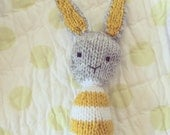 Knitted bunny rattle, rabbit toy, baby toy, baby gift, bunny rattle, soft toy