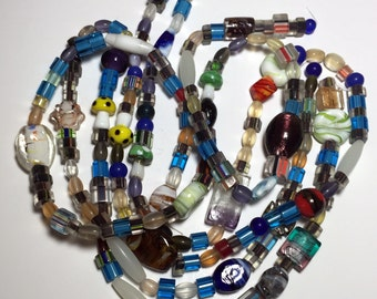 """Glass Beads Mixed Colors and Sizes 31"""" Strand"""