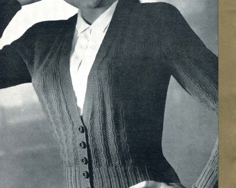 Lovely 1940s Cable Cardigan 38 to 40 Bust Patons 350 Vintage Knitting Pattern Download