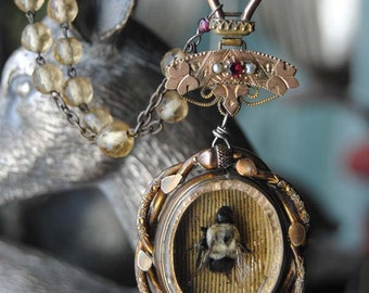 BeeFriended--Antique Victorian Pinchbeck Swivel Glass Locket Genuine Bee Diorama Pendant Crystal French Rosary Watch Chain Garnet NECKLACE
